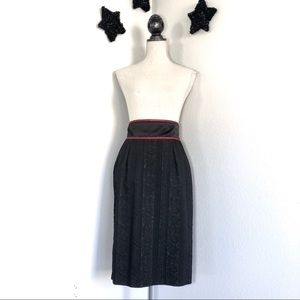 Vtg Textured Black Pencil Skirt Red Piping